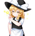 1girl absurdres apron bangs black_headwear black_skirt black_vest blonde_hair blush bow braid brown_eyes commentary_request eyebrows_visible_through_hair frilled_apron frills grin hair_between_eyes hand_on_hip hat hat_bow highres index_finger_raised kirisame_marisa kirisame_mia long_hair looking_at_viewer outline pink_outline puffy_short_sleeves puffy_sleeves shirt short_sleeves simple_background single_braid skirt smile solo star star_in_eye symbol_in_eye touhou v-shaped_eyebrows vest waist_apron white_apron white_background white_bow white_shirt witch_hat