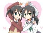 2girls bags_under_eyes black_hair green_eyes kuroki_tomoko multiple_girls nemoto_hina ponytail sailor_collar twintails watashi_ga_motenai_no_wa_dou_kangaetemo_omaera_ga_warui! younger