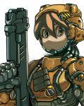 1girl armor brown_hair close-up expressionless green_eyes gun helmet koutetu_yarou looking_at_viewer original pouch power_armor rifle science_fiction tube weapon white_background