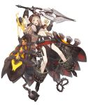 1girl :d belt_buckle belt_pouch blonde_hair buckle chain collar cuffs explosive foothold_trap frills full_body goggles goggles_on_head grenade hood hood_up ji_no little_red_riding_hood_(sinoalice) long_hair looking_at_viewer midriff official_art open_mouth orange_hair pouch shackles sinoalice smile solo spiked_collar spikes transparent_background upper_teeth