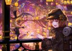 :d androgynous animal_ears backpack bag bag_charm bedroll black_headwear brown_eyes brown_hair charm_(object) cityscape fantasy flower hat hat_flower highres light long_sleeves mask open_mouth original pointing railing sho_(sumika) short_hair smile standing top_hat violet_eyes whale