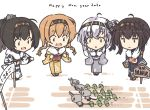 2020 4girls ahoge akizuki_(kantai_collection) alternate_costume banner bikini black_hair black_kimono braid brown_hair chou-10cm-hou-chan chou-10cm-hou-chan_(hatsuzuki's) chou-10cm-hou-chan_(suzutsuki's) chou-10cm-hou-chan_(teruzuki's) commentary_request grey_kimono hair_flaps hair_ornament hatsuzuki_(kantai_collection) japanese_clothes kantai_collection kimono light_brown_hair long_hair multiple_girls nakadori_(movgnsk) new_year one_side_up ponytail propeller_hair_ornament short_hair silver_hair suzutsuki_(kantai_collection) swimsuit teruzuki_(kantai_collection) twin_braids yellow_bikini