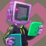 commentary cortoony english_commentary game_boy_color game_cartridge handheld_game_console holding holding_game_cartridge original personification reflection solo sweater