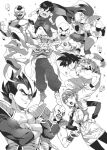 1girl 6+boys anger_vein annoyed armor bald bangs black_eyes black_legwear blunt_bangs boots bowl_cut braid bulma cape clenched_hands clothes_writing collarbone commentary_request cowboy_shot crossed_arms diadem dirty dirty_clothes dirty_face dougi dragon_ball dragon_ball_(object) dragon_ball_z dutch_angle evil_grin evil_smile expressionless facial_hair father_and_son fighting_stance floating_rock frieza frown gloves greyscale grin hairband hands_on_hips inzup korean_commentary kuririn laughing long_sleeves looking_down looking_up monochrome multiple_boys muscle mustache nappa nervous open_mouth pantyhose piccolo pointy_ears rock scared scouter screaming short_hair simple_background smile son_gohan son_gokuu spiky_hair straight_hair sweatdrop tail teeth torn_clothes turban upper_teeth v-shaped_eyebrows vegeta veins white_background white_gloves wristband zarbon