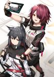 2girls :d animal_ear_fluff animal_ears arknights arm_up bangs belt black_capelet black_gloves black_hair black_skirt brown_eyes brown_legwear capelet cellphone commentary_request exusiai_(arknights) fingerless_gloves food gloves hair_between_eyes hair_over_one_eye halo hand_up high_collar highres holding holding_food holding_phone id_card jacket long_hair looking_at_viewer miniskirt multiple_girls open_mouth pantyhose phone pocky pouch raglan_sleeves red_belt redhead self_shot short_hair short_sleeves sidelocks skirt smartphone smile standing texas_(arknights) white_jacket wolf_ears yuuuuu