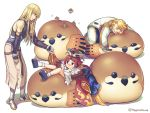 1girl 2boys animal apron armored_boots bangs bare_shoulders bean_bag_chair benienma_(fate/grand_order) bird black_footwear black_gloves black_shirt blonde_hair blush bobby_socks boots brown_headwear brown_kimono closed_eyes closed_mouth commentary_request elbow_gloves eurasian_tree_sparrow eyebrows_visible_through_hair facial_hair fate/grand_order fate_(series) fingerless_gloves fionn_mac_cumhaill_(fate/grand_order) gloves goldorf_musik gradient_hair green_eyes hagino_kouta hair_between_eyes hat holding_hands jacket japanese_clothes kimono long_hair long_sleeves low_ponytail muji_body_fitting_sofa multicolored_hair multiple_boys mustache nose_blush pants parted_bangs platform_footwear ponytail red_eyes redhead revision shadow shirt sleeveless sleeveless_shirt sleeves_past_wrists smile socks sparrow sweat twitter_username very_long_hair white_apron white_background white_gloves white_jacket white_legwear white_pants wide_sleeves zouri