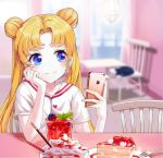 1girl bishoujo_senshi_sailor_moon blonde_hair blue_eyes blurry blurry_background cake cat cellphone double_bun earrings floating_hair food grin head_rest highres holding holding_phone indoors iren_lovel jewelry long_hair looking_to_the_side luna_(sailor_moon) phone shiny shiny_hair shirt short_sleeves smartphone smile solo tsukino_usagi twintails upper_body very_long_hair white_shirt