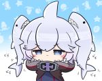 1girl :| animal animal_background animal_on_head asimo953 azur_lane bangs black_swimsuit blue_background blush brown_cloak cloak closed_mouth commentary_request eyebrows_visible_through_hair gradient gradient_background grey_eyes hair_flaps hood hooded_cloak iron_cross looking_at_viewer on_head shark shark_hood sharp_teeth short_hair sidelocks silver_hair solo_focus swimsuit teeth twintails_day u-110_(azur_lane) upper_body you're_doing_it_wrong