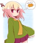 1girl bangs blonde_hair blush boned_meat closed_mouth commentary_request english_text eyebrows_visible_through_hair food green_shirt hair_between_eyes hair_bun hair_ornament highres kemomimi-chan_(naga_u) long_hair long_sleeves looking_at_viewer meat naga_u no_ears orange_neckwear original pleated_skirt purple_skirt red_eyes sailor_collar shirt skirt sleeves_past_fingers sleeves_past_wrists solo spoken_food thigh-highs thought_bubble white_legwear white_sailor_collar