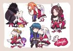 absurdres animalization aqua_hair beak bernadetta_von_varley black_hair brown_hair byleth_(fire_emblem) byleth_(fire_emblem)_(female) crossover dorothea_arnault doubutsu_no_mori dress edelgard_von_hresvelg ferdinand_von_aegir fire_emblem fire_emblem:_three_houses hair_over_eyes hat highres horned_headwear hubert_von_vestra leaning_on_person parody peaked_cap purple_hair silver_hair soursoppi talons
