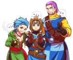 3boys aopanda beard blue_eyes blue_hair bob_cut brown_hair camus_(dq11) cosplay double_v dragon_quest dragon_quest_xi earrings facial_hair gloves greig_(dq11) hero_(dq11) jewelry male_focus multiple_boys necklace pectorals purple_hair roto roto_(cosplay) simple_background spiky_hair spoilers v white_background