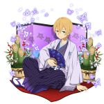 1boy arm_support blonde_hair blue_eyes blue_hakama closed_mouth collarbone eugeo fan floral_print hakama haori highres holding holding_fan japanese_clothes long_sleeves male_focus sitting smile solo striped sword_art_online vertical_stripes