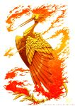 bird bird_focus creature empyrisan fire gen_1_pokemon legendary_pokemon moltres no_humans pokemon pokemon_(creature) red_theme signature solo transparent_background watermark web_address