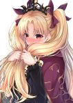 1girl bangs blonde_hair blush bow cape commentary_request embarrassed ereshkigal_(fate/grand_order) eyebrows_visible_through_hair fate/grand_order fate_(series) hair_bow highres holding holding_hair long_hair long_sleeves looking_at_viewer nakaji_(user_snap3353) nose_blush parted_bangs purple_bow purple_cape red_eyes simple_background skull solo tiara two_side_up upper_body very_long_hair white_background