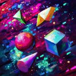 abstract commentary cone cortoony cube english_commentary floating geometry no_humans original pyramid_(geometry) space sphere star_(sky) still_life
