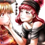 2girls bare_shoulders blonde_hair blush breasts choker commentary_request eye_contact eyebrows_visible_through_hair hand_on_another's_chin hecatia_lapislazuli junko_(touhou) kamekichi27 large_breasts looking_at_another multiple_girls red_eyes redhead simple_background smile tassel touhou upper_body white_background yuri