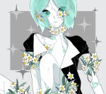 1other 8zikan_netai androgynous aqua_eyes aqua_hair bangs black_clothes blue_eyes blue_hair closed_eyes commentary_request crystal_hair damaged eyebrows_visible_through_hair eyes_visible_through_hair flower gem_uniform_(houseki_no_kuni) grey_background highres houseki_no_kuni legs looking_at_viewer open_clothes pale_skin parted_bangs phosphophyllite see-through short_hair short_sleeves simple_background sitting solo sparkle thick_eyebrows upper_body white_flower white_skin