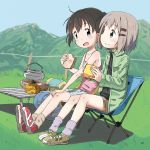 2girls ashida_ichirou backpack bag black_hair brown_shorts camisole camping_chair chair english_commentary folding_chair food green_eyes green_jacket hair_ornament hairclip hand_on_own_knee highres jacket kerosene_lamp kettle kuraue_hinata light_brown_hair multiple_girls outdoors portable_stove sandwich shoes shorts sneakers socks twintails violet_eyes yama_no_susume yukimura_aoi