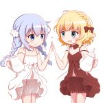 2girls :d alternate_hairstyle bare_arms bare_shoulders blonde_hair bloomers blue_eyes blue_hair blush bow braid breasts brown_bloomers brown_bow brown_collar brown_dress closed_mouth collar commentary detached_collar dress eye_contact gochuumon_wa_usagi_desu_ka? goth_risuto hair_bow heart high_five holding kafuu_chino kirima_sharo long_hair looking_at_another low_twintails matching_outfit multiple_girls open_mouth revision simple_background sleeveless sleeveless_dress small_breasts smile teapot twin_braids twintails underwear very_long_hair white_background white_bloomers white_collar white_dress