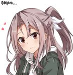 1girl alternate_costume green_jacket high_ponytail hood hooded_sweater hoodie jacket kantai_collection light_brown_hair long_hair looking_at_viewer meguru_(megurunn) ponytail simple_background smile solo sweater twitter_username upper_body white_background white_sweater zuihou_(kantai_collection)