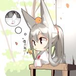 1girl absurdres animal animal_ear_fluff animal_ears animal_on_head bangs barefoot bird blush brown_flower chibi closed_mouth commentary_request eyebrows_visible_through_hair flower fox_ears fox_girl fox_tail grey_hair hair_between_eyes hair_rings highres japanese_clothes kimono long_hair long_sleeves looking_away mouth_hold obi on_head original patches petals ponytail red_eyes sash sitting snow solo stuck tail thought_bubble translation_request tree very_long_hair white_kimono wide_sleeves yuuji_(yukimimi)