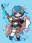 1girl arms_at_sides beamed_eighth_notes blue_eyes blue_footwear blue_hair blue_skirt blue_theme blush blush_stickers boots breasts broken_heart cape chibi commentary detached_sleeves dot_nose eighth_note fortissimo fortissimo_hair_ornament frills full_body gloves hair_between_eyes hair_ornament hairclip happy heart highres holding holding_cape holding_sword holding_weapon light_particles looking_at_viewer mahou_shoujo_madoka_magica miki_sayaka musical_note pleated_skirt ripples short_hair skirt small_breasts smile solo standing standing_on_liquid standing_on_one_leg strapless sword symbol_commentary thigh-highs water water_drop weapon white_cape white_gloves white_legwear yukino_super zettai_ryouiki