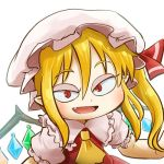 1girl ascot avatar_icon blonde_hair blouse blush chamaji close-up commentary crystal eyebrows_visible_through_hair fang flandre_scarlet frills hair_between_eyes hat hat_ribbon looking_at_viewer lowres mob_cap open_mouth pointy_ears red_eyes ribbon short_sleeves side_ponytail signature simple_background skirt skirt_set slit_pupils solo touhou upper_body white_background wings