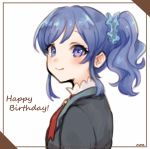 1girl aikatsu! aikatsu!_(series) artist_name black_jacket blue_eyes blue_hair blue_scrunchie blush closed_mouth commentary_request hair_ornament hair_scrunchie happy_birthday jacket kiriya_aoi looking_at_viewer looking_to_the_side nuno_(pppompon) scrunchie side_ponytail signature smile solo starlight_academy_uniform upper_body white_background