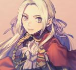 1girl aiguillette bangs capelet edelgard_von_hresvelg fire_emblem fire_emblem:_three_houses forehead garreg_mach_monastery_uniform ginga_two hair_ribbon lips long_hair looking_at_viewer neckerchief parted_bangs pink_background ribbon silver_hair simple_background smile solo upper_body violet_eyes