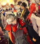 6+boys adjusting_clothes adjusting_necktie antonio_salieri_(fate/grand_order) arash_(fate) bartholomew_roberts_(fate/grand_order) black_hair black_jacket black_neckwear black_vest blue_shirt brown_hair buttons chandelier closed_eyes closed_mouth collar collared_jacket collared_shirt covered_eyes cross crossed_arms earrings fate/grand_order fate_(series) glasses gloves hand_in_pocket hat indoors itefu jacket jacket_on_shoulders james_moriarty_(fate/grand_order) japanese_clothes jewelry king_hassan_(fate/grand_order) long_hair long_sleeves looking_at_another male_focus multiple_boys necktie open_clothes open_jacket ozymandias_(fate) red_eyes red_neckwear redhead ring sakamoto_ryouma_(fate) scarf shirt short_hair silver_hair standing striped striped_jacket striped_neckwear tristan_(fate/grand_order) vest white_gloves white_headwear yagyuu_munenori_(fate/grand_order)