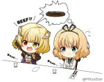 2girls :d arm_up bangs black_gloves black_ribbon black_shirt blazer blonde_hair blue_eyes blush breastplate chair charlotte_(shironeko_project) chibi closed_mouth collared_shirt commentary_request crossover cup drinking_glass eyebrows_visible_through_hair fang flying_sweatdrops food fork gloves gochuumon_wa_usagi_desu_ka? green_eyes hair_ribbon hands_on_own_stomach heterochromia holding holding_fork holding_knife hungry jacket kirima_sharo knife miicha multiple_girls necktie on_chair open_mouth outstretched_arm pauldrons plaid_neckwear red_eyes ribbon school_uniform shironeko_project shirt sitting smile spoken_food steak stomach_growling tedeza_rize's_school_uniform twitter_username v-shaped_eyebrows white_background white_jacket