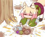1girl ^_^ acorn all_fours animal_ear_fluff animal_ears bangs black_footwear blonde_hair blush bone boots brown_scarf closed_eyes commentary day dirty_clothes dirty_face eyebrows_visible_through_hair fish fox_ears fox_girl fox_tail green_shirt hair_between_eyes hair_bun hair_ornament hole kemomimi-chan_(naga_u) long_hair long_sleeves naga_u original outdoors pleated_skirt purple_skirt ribbon-trimmed_legwear ribbon_trim scarf shirt sidelocks skirt sleeves_past_fingers sleeves_past_wrists snow solo sparkle tail thigh-highs thighhighs_under_boots tree white_legwear winter