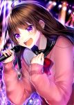 1girl :d bangs black_sailor_collar blurry blurry_background blush bow brown_hair commentary_request crying crying_with_eyes_open depth_of_field eyebrows_visible_through_hair hair_between_eyes hands_up highres holding holding_microphone long_hair long_sleeves maria_(maria0304) microphone open_mouth original pink_sweater red_bow round_teeth sailor_collar school_uniform serafuku shirt sleeves_past_wrists smile solo sweater tears teeth upper_body upper_teeth violet_eyes white_shirt