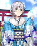 1girl absurdres alternate_costume alternate_hairstyle blue_sky braid closed_mouth clouds eyebrows_visible_through_hair green_eyes hair_between_eyes hair_ornament highres hololive japanese_clothes nakura_haru new_year outdoors shirogane_noel sky smile torii upper_body virtual_youtuber white_hair wide_sleeves
