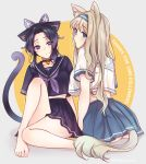 2girls adapted_costume animal_ears bangs bare_legs barefoot bell bell_collar black_hair black_skirt blonde_hair blue_eyes blue_skirt breasts butterfly_hair_ornament cat_ears cat_tail choker collar crossover darling_in_the_franxx english_text eyebrows_visible_through_hair full_body gradient_hair grey_background hair_ornament hairband kimetsu_no_yaiba kochou_shinobu kokoro_(darling_in_the_franxx) kyarotto_(zenkixd) long_hair looking_at_viewer looking_back medium_breasts midriff miniskirt multicolored_hair multiple_girls parted_bangs parted_lips pleated_skirt purple_hair purple_neckwear sailor_collar school_uniform seiyuu_connection serafuku short_hair short_sleeves simple_background sitting skirt tail thank_you thighs twitter_username two-tone_background two-tone_hair violet_eyes yellow_background