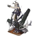 1girl adjusting_clothes adjusting_gloves alternate_costume ankle_boots antlers arknights azling bad_id bags_under_eyes bangs black_gloves boots bow_(weapon) breasts closed_mouth combat_knife crossbow crossbow_bolts dress expressionless firewatch_(arknights) full_body gloves green_eyes head_tilt headband knife load_bearing_equipment long_hair looking_at_viewer medium_breasts purple_footwear quiver radio sidelocks sleeveless sleeveless_dress solo standing tachi-e thigh-highs transparent_background weapon white_dress