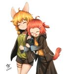 2girls ahoge animal_ears animal_print arknights arm_hug azsesaliaz_(chayanthorn) bangs beagle_(arknights) black_jacket black_shorts black_skirt bow bunny_print closed_eyes clothes_writing dated foreshortening glasses gradient_clothes green_bow green_shirt hair_bow hair_ornament hairclip highres id_card jacket kroos_(arknights) multiple_girls open_mouth orange_hair red-framed_eyewear redhead semi-rimless_eyewear shirt short_hair shorts simple_background skirt smile standing tail thigh_strap thighs white_background