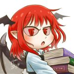 1girl bat_wings book book_stack carrying chamaji close-up collared_shirt commentary eyebrows_visible_through_hair head_wings koakuma long_sleeves looking_at_viewer lowres open_mouth pointy_ears red_eyes red_sclera redhead shirt signature simple_background slit_pupils solo touhou unbuttoned unbuttoned_shirt upper_body vest white_background wing_collar wings