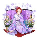 1girl blue_ribbon blush closed_mouth floral_print flower fur-trimmed_kimono fur_trim furisode hair_bun hair_flower hair_intakes hair_ornament hair_ribbon highres japanese_clothes kimono long_sleeves looking_at_viewer obi official_art pink_flower pink_rose print_kimono purple_kimono purple_ribbon red_eyes redhead ribbon rose sash shiny shiny_hair short_hair sitting smile solo sword_art_online tabi tiese_schtrinen transparent_background white_legwear wide_sleeves
