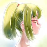1girl akim_x closed_eyes from_side glasses green_hair nagi_(watamote) ponytail profile smile watashi_ga_motenai_no_wa_dou_kangaetemo_omaera_ga_warui!