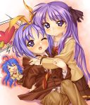 blue_hair hair_ribbon hair_ribbons hiiragi_kagami hiiragi_tsukasa hug incest izumi_konata kink long_hair lucky_star necktie oversized_clothes purple_hair ribbon ribbons school_uniform twintails