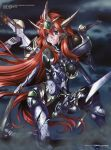 battle_damage breasts damage damaged green_eyes highres marcy_rabbit mecha_musume mercy_rabbit red_hair redhead super_robot_wars super_robot_wars_the_lord_of_elemental sword valsione valsione_r weapon