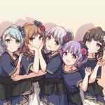 >:) 5girls :> :3 :d aiba_aina alternate_hairstyle aqua_hair ayasaka bang_dream! black_eyes black_hair blue_flower brown_hair chin_rest commentary_request dress flower green_eyes grey_hair group_picture hair_flower hair_ornament hand_on_another's_arm hand_on_another's_shoulder hand_up hikawa_sayo imai_lisa kudou_haruka_(seiyuu) minato_yukina multiple_girls nakashima_yuki open_mouth overskirt photo-referenced pink_flower ponytail purple_flower purple_hair red_eyes red_flower roselia_(bang_dream!) sakuragawa_megu seiyuu_connection shirokane_rinko shizaki_kanon short_sleeves sidelocks smile udagawa_ako violet_eyes