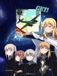 5girls aircraft airplane alternate_costume anchor_hair_ornament aqua_eyes bismarck_(kantai_collection) black_shirt blonde_hair blue_eyes brown_eyes cape cat commentary_request epaulettes galactic_empire_(gin'eiden) ginga_eiyuu_densetsu graf_zeppelin_(kantai_collection) grey_eyes hair_ornament highres holding holding_cat kantai_collection long_hair long_sleeves low_twintails military military_uniform multiple_girls p1y_ginga parody prinz_eugen_(kantai_collection) redhead shirt short_hair sidelocks silver_hair smile tsukemon twintails uniform unsinkable_sam white_cape z1_leberecht_maass_(kantai_collection) z3_max_schultz_(kantai_collection)