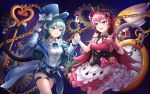 2girls :0 :d ace_of_clubs ace_of_diamonds alice_(wonderland) alice_(wonderland)_(cosplay) alice_in_wonderland argyle_print arm_belt asymmetrical_horns bangs bare_thighs black_ribbon blue_eyes blue_hair blue_headwear blue_jacket blue_shorts blush bow bow_dress bowtie breasts card chain choker club_(shape) commentary_request cosplay cowboy_shot cup diamond_(shape) dress elbow_gloves eyebrows_visible_through_hair fang floating floating_object frilled_choker frilled_dress frilled_shirt frills gears gloves hair_ribbon hand_on_headwear hat hat_bow heart highres holding_hands holster honkai_(series) honkai_impact_3rd jacket key key_necklace liliya_olenyeva long_hair looking_at_another mad_hatter mad_hatter_(cosplay) mechanical_horns mechanical_tail mismatched_gloves multicolored multicolored_clothes multicolored_dress multiple_bows multiple_girls off-shoulder_jacket open_clothes open_jacket open_mouth oversized_object pink_gloves pink_hair playing_card pocket_watch polka_dot polka_dot_bow ribbon ripong rozaliya_olenyeva scissors shirt short_shorts shorts siblings sidelocks sisters sky sleeveless sleeveless_shirt small_breasts smile space spade_(shape) star_(sky) starry_sky tail teacup thick_eyebrows thigh_strap top_hat twins waistcoat watch white_gloves white_shirt