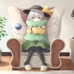 1girl armchair arms_up bangs black_headwear black_legwear bright_pupils chair commentary covered_mouth crossed_arms eyebrows_visible_through_hair floral_print frilled_sleeves frills green_eyes green_skirt hat hat_ribbon heart heart_of_string highres indoors knees_together_feet_apart komeiji_koishi lamp long_sleeves looking_at_viewer nakit pantyhose petticoat pillow pillow_hug plant potted_plant ribbon rose_print rug shirt short_hair silver_hair sitting skirt slippers solo third_eye touhou white_pupils wooden_floor yellow_footwear yellow_shirt