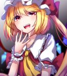 1girl :d blonde_hair collared_shirt cravat crystal eyebrows eyebrows_visible_through_hair fang finger_to_mouth flandre_scarlet gradient gradient_background hat headwear highres mob_cap mozuno_(mozya_7) multicolored_hair open_eyes open_mouth puffy_sleeves red_ribbon ribbon shirt short_hair short_hair_with_long_locks short_sleeves side_ponytail simple_background smile solo teeth touhou upper_body vampire vest wings