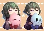 1boy 1girl alternate_color biting black_gloves blue_eyes blue_kirby blush_stickers brother_and_sister byleth_(fire_emblem) byleth_eisner_(female) byleth_eisner_(male) byleth_eisner_(female) byleth_eisner_(male) chibi closed_eyes dual_persona female_my_unit_(fire_emblem:_three_houses) fire_emblem fire_emblem:_three_houses fire_emblem:_three_houses fire_emblem_16 gloves green_hair hal_laboratory_inc. highres holding hoshi_no_kirby human intelligent_systems kirby kirby_(series) kirby_(specie) male_my_unit_(fire_emblem:_three_houses) medium_hair my_unit_(fire_emblem:_three_houses) nakabayashi_zun nintendo open_mouth pink_puff_ball short_hair siblings sora_(company) super_smash_bros. super_smash_bros._ultimate super_smash_bros_brawl