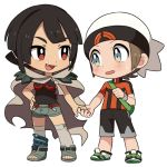1boy 1girl bag bangs black_hair blush breasts brown_hair cape fang full_body grey_eyes hat higana_(pokemon) holding_hands lowres pokemon pokemon_(game) pokemon_oras red_eyes remotarou short_shorts shorts sidelocks simple_background small_breasts standing white_background white_headwear yuuki_(pokemon)