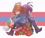 2girls badeline black_footwear blue_coat blush blush_stickers boots brown_hair celeste_(video_game) closed_mouth eyebrows_visible_through_hair facing_away food fruit long_hair looking_at_viewer madeline_(celeste) multiple_girls purple_coat purple_hair purple_skin purple_skirt red_sclera sitting skirt smile strawberry very_long_hair violet_eyes wings wong_ying_chee